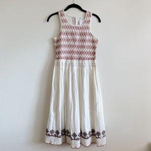 Tularosa White Embroidered Midi Dress